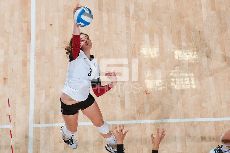 STANFORD, CA-OCTOBER 10, 2012 - Morgan Bouthaker gets the kill as Stanford defeats  visiting USC in straight sets at Maples Pavilion.