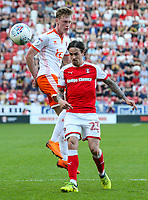 Blackpool's Sean Longstaff battles with Rotherham United's Ryan Williams<br /> <br /> Photographer Alex Dodd/CameraSport<br /> <br /> The EFL Sky Bet League One - Rotherham United v Blackpool - Saturday 5th May 2018 - New York Stadium - Rotherham<br /> <br /> World Copyright &copy; 2018 CameraSport. All rights reserved. 43 Linden Ave. Countesthorpe. Leicester. England. LE8 5PG - Tel: +44 (0) 116 277 4147 - admin@camerasport.com - www.camerasport.com