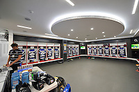 A general view of Bath Rugby shirts hung up in the home changing rooms at Twickenham Stadium. Aviva Premiership Final, between Bath Rugby and Saracens on May 30, 2015 at Twickenham Stadium in London, England. Photo by: Patrick Khachfe / Onside Images