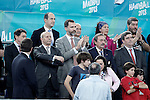 The President of the Region of Madrid (Comunidad de Madrid) Igancio Gonzalez; the Minister of Education, Culture and Sports Jose Ignacio Wert, Prince Felipe of Spain; Juan de Dios Roman, President of the Spanish Handball Federation and the Secretary of Sports (Secretario de Estado para el Deporte) Miguel Cardenal during 23rd Men's Handball World Championship preliminary round match Hungary v Spain.January 17,2013. (ALTERPHOTOS/Acero)