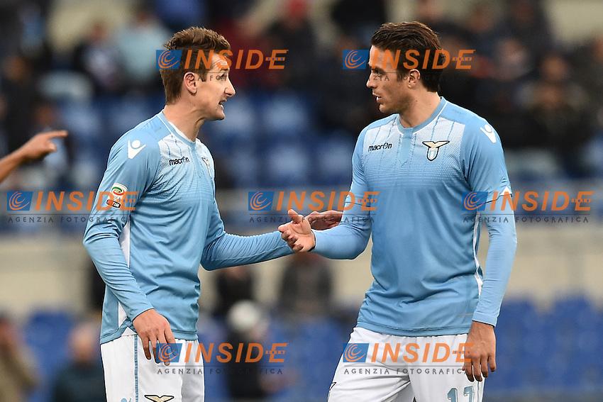 Miroslav Klose  e Alessandro Matri Lazio.<br /> Roma 6-01-2016 Stadio Olimpico, Football Calcio 2015/2016 Serie A Lazio - Carpi. Foto Antonietta Baldassarre / Insidefoto