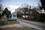 January 24, 2008. Greenwood, SC.. Presidential candidate and former US senator, John Edwards campaigned across the western part of South Carolina today in an effort to shore up support before Saturday's primary election.. The campaign bus stopped along the road to Greenwood, SC.