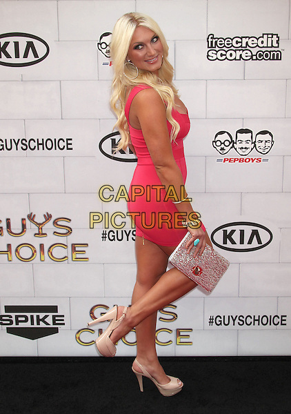 Brooke Hogan.Spike TV's 6th Annual 'Guys Choice' Awards held at Sony Pictures Studios, Culver City, California, USA..2nd June 2012 .full length pink dress side clutch bag leg foot up.CAP/ADM/RE.©Russ Elliot/AdMedia/Capital Pictures.