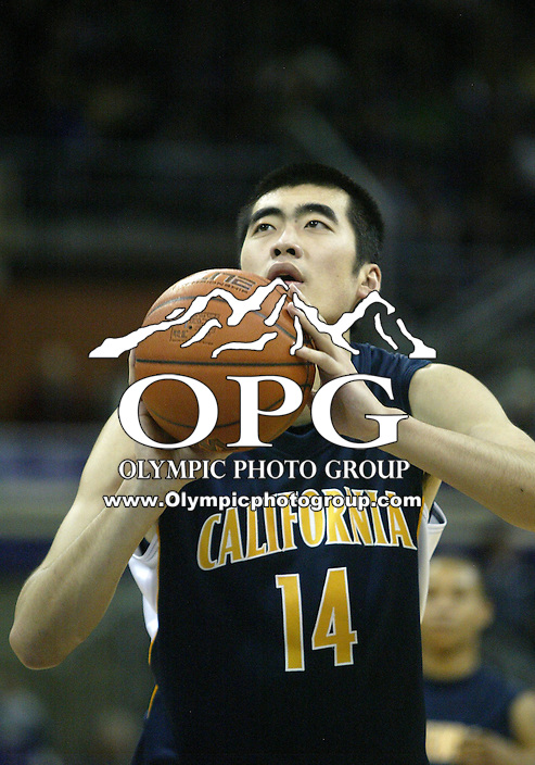 16 January 2010:   California center Max Zhang shoots a free throw against Washington.  Washington won 84-69 over California at the Bank of America Arena in Seattle, WA.