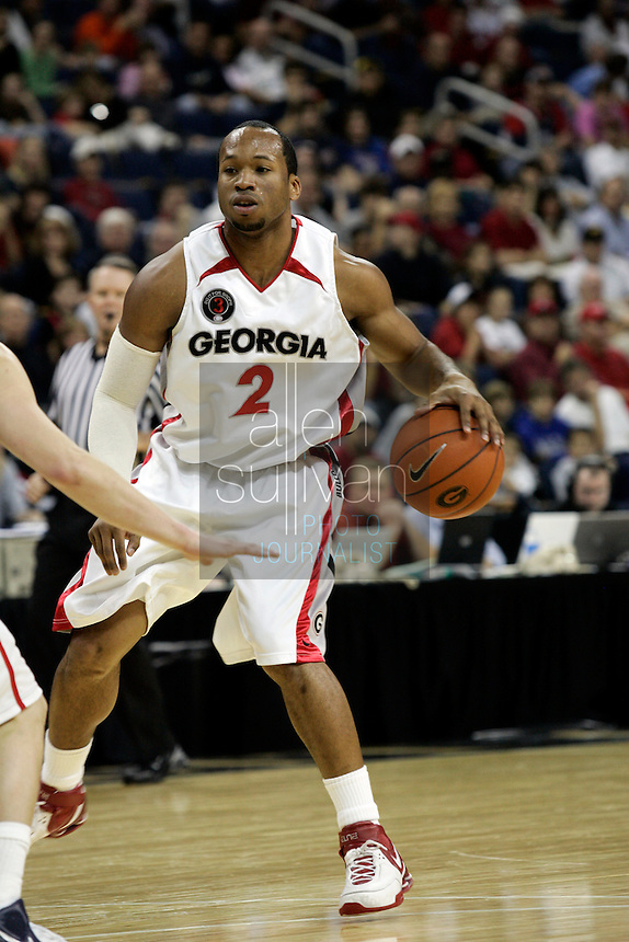 University of Georgia guard Sundiata Gaines in a basketball game against Gonzaga University at The Arena at Gwinnett Center in Duluth, Ga. on Saturday, Dec. 16, 2006. Georgia won 96-83.<br />