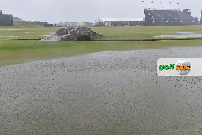 The Swilcan Bridge on the 18th hole and suspension of play due to high winds and waterlogged course at the start of Friday's Round 2 of the 144th Open Championship, St Andrews Old Course, St Andrews, Fife, Scotland. 17/07/2015.<br /> Picture Eoin Clarke, www.golffile.ie
