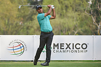 Shubhankar Sharma (IND) watches his tee shot on 18 during round 2 of the World Golf Championships, Mexico, Club De Golf Chapultepec, Mexico City, Mexico. 3/2/2018.<br /> Picture: Golffile | Ken Murray<br /> <br /> <br /> All photo usage must carry mandatory copyright credit (&copy; Golffile | Ken Murray)