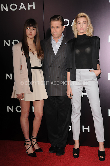WWW.ACEPIXS.COM<br /> March 26, 2014 New York City<br /> <br /> Alia Baldwin, Stephen Baldwin, Hailey Baldwin attending the 'Noah' New York premiere at Ziegfeld Theatre on March 26, 2014 in New York City.<br /> <br /> Please byline: Kristin Callahan<br /> <br /> ACEPIXS.COM<br /> <br /> Tel: (212) 243 8787 or (646) 769 0430<br /> e-mail: info@acepixs.com<br /> web: http://www.acepixs.com