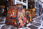 Ortodox paintings on the alley on Mykonos island of greece