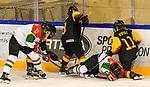 06.01.2020, BLZ Arena, Füssen / Fuessen, GER, IIHF Ice Hockey U18 Women's World Championship DIV I Group A, <br /> Deutschland (GER) vs Ungarn (HUN), <br /> im Bild Kampf um den Puck an der Bande, Mira Seregely (HUN, #17), Ronja Hark (GER, #8), Petra Szamosfalvi (HUN, #8), Svenja Voigt (GER, #11)<br /> <br /> Foto © nordphoto / Hafner