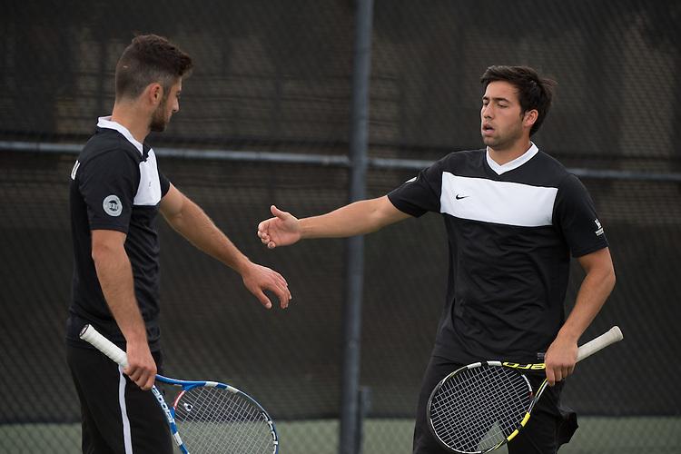 April 22, 2015; San Diego, CA, USA; Santa Clara Broncos tennis players Ashot Khacharyan (left) and Mikheil Khmiadashvili (right) during the WCC Tennis Championships at Barnes Tennis Center.
