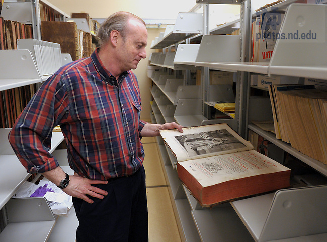 Librarian Alan Krieger looks over the Lohmann Collection in the lower level stacks of the Special Collections department in Hesburgh Library...For ACCESS Newsletter..Photo by Matt Cashore/University of Notre Dame
