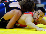 January 26, 2013: Japan's, Hitoyuki Shimizu (r), and USA's, Andrew Bisek (l), during Greco-Roman wrestling action during the Jack Pinto Cup at the United States Olympic Training Center, Colorado Springs, Colorado.  This unique dual format international competition has been named in memory of Jack Pinto, a young USA Wrestling member and one of the shooting victims at Sandy Hook Elementary School, Newtown, CT.