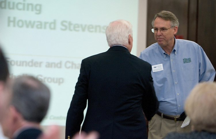 Ken Hartung greets Howard Steven, Chairman and CEO, HR Chally during The Ralph and Luci Schey Sales Centre's 10th Annual Sales Symposium at O.U. on Friday, 4/20/07.