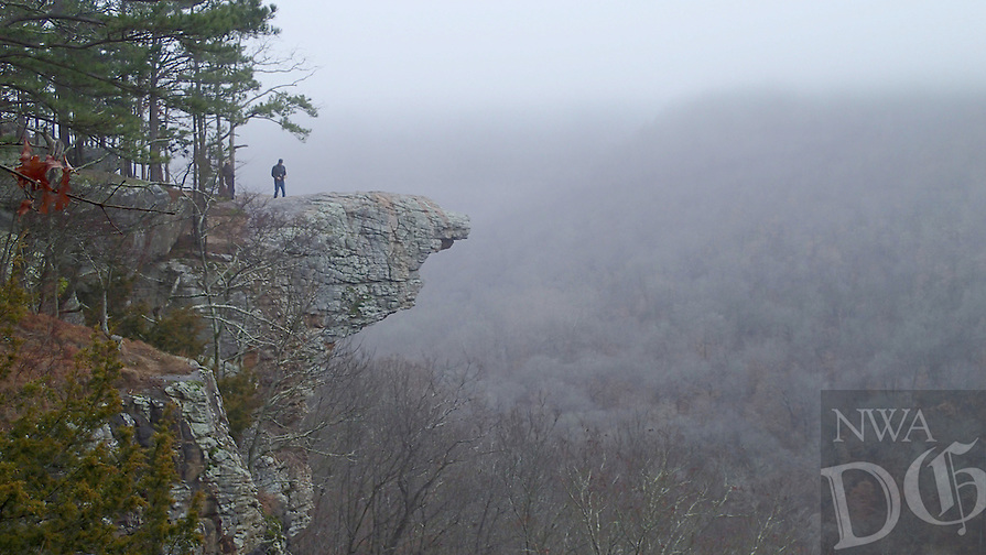 NWA Democrat-Gazette/FLIP PUTTHOFF <br /> Hawksbill Crag in the Upper Buffalo Wilderness is one of the most photographed promontories in Arkansas. Round-trip hike from the trail head to the crag and back is three miles. The crag is seen here on a foggy morning Jan. 19 2017, is three miles.