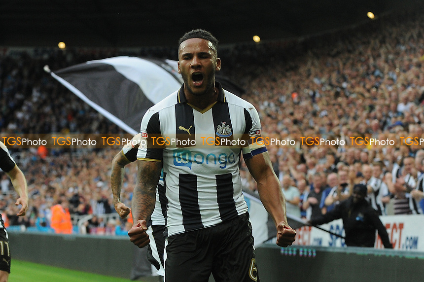 Jamaal Lascelles of Newcastle United celebrates scoring the opening goal of the game during Newcastle United vs Brighton and Hove Albion, Sky Bet EFL Championship Football at St. James' Park on 27th August 2016