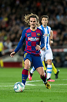7th March 2020; Camp Nou, Barcelona, Catalonia, Spain; La Liga Football, Barcelona versus Real Sociedad; Antoine Griezmann of FC Barcelona makes a forward run