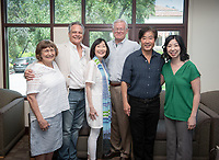 Campus tour and luncheon with alumni (from left) Lynn Hoffman '72, Kevin and Lynette Payne '72, professor Woody Studenmund, Jimmy Kwok '73 and professor Lesley Chiou, Aug. 19, 2019.<br /> (Photo by Marc Campos, Occidental College Photographer)