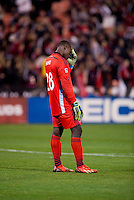 Bill Hamid (28) of D.C. United reacts to the loss after a MLS game at RFK Stadium in Washington, DC.  D.C. United lost to the Columbus Crew, 3-0.