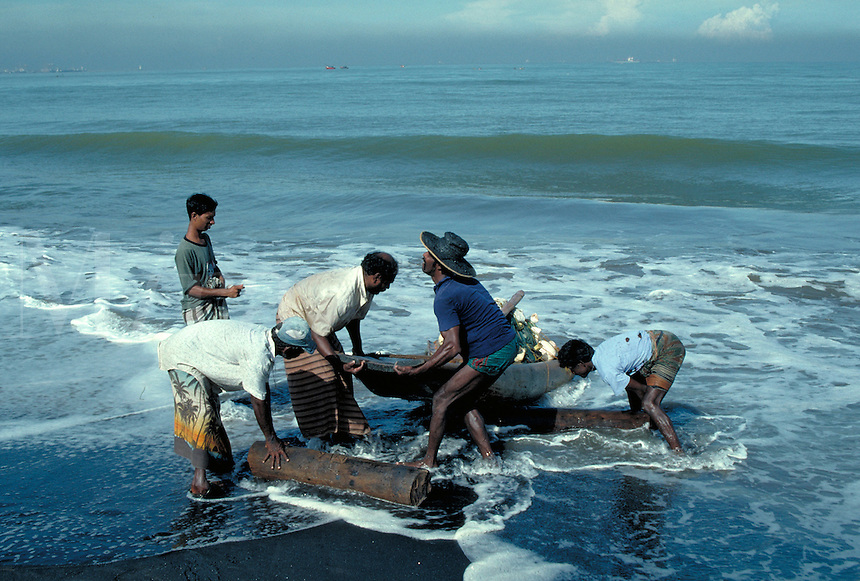 On the Sri Lankan coast, in the fishing village of Palliyawadda, survival is determined by the sea. Working from homemade boats, local fishermen toil long hours to provide for their families. fish, fishing, fishermen, trade, occupations. Sri Lanka Fisherm