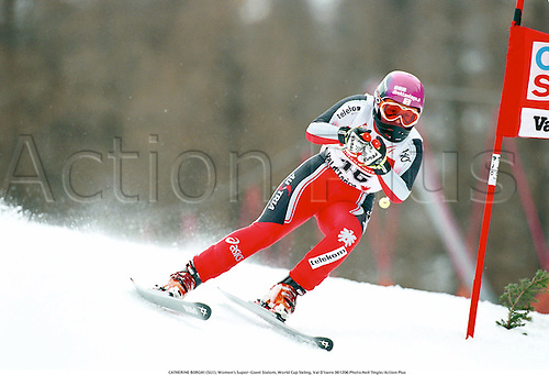 CATHERINE BORGHI (SUI), Women's Super-Giant Slalom, World Cup Skiing, Val D'Isere 001206 Photo:Neil Tingle/Action Plus...2000.Snow.winter sport.winter sports.wintersport.wintersports.alpine.ski.skier.woman.womens.women