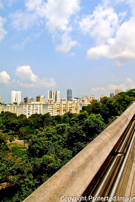 Singapore landscape blue sky white clouds views from bridge N A Ebden photo
