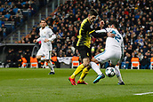 6th December 2017, Santiago Bernabeu, Madrid, Spain; UEFA Champions League football, Real Madrid versus Dortmund; Christian Pulisic Borussia Dortmund  challenges Francisco Roman Alarcon  Real Madrid