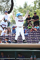 Inland Empire 66ers mascot Slick entertains the fans during a game against the Rancho Cucamonga Quakes at San Manuel Stadium on April 27, 2016 in San Bernardino, California. Rancho Cucamonga defeated Inland Empire, 2-1. (Larry Goren/Four Seam Images)