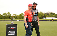 England captain Eoin Morgan (L) and New Zealand captain Tim Southee (R). NZ and England T20 cricket team training at Hagley Oval in Christchurch, New Zealand on Thursday, 31 October 2019. Photo: Martin Hunter/ lintottphoto.co.nz