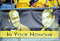 A banner commemorating the lives of Hurricanes legends Jonah Lomu and Jerry Collins during the Super Rugby match between the Hurricanes and Crusaders at Westpac Stadium in Wellington, New Zealand on Saturday, 10 March 2018. Photo: Dave Lintott / lintottphoto.co.nz