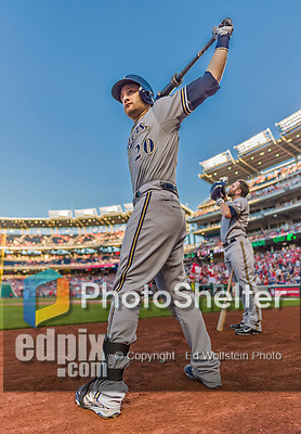 22 August 2015: Milwaukee Brewers catcher Jonathan Lucroy stands ready to start play against the Washington Nationals at Nationals Park in Washington, DC. The Nationals defeated the Brewers 6-1 in the second game of their 3-game weekend series. Mandatory Credit: Ed Wolfstein Photo *** RAW (NEF) Image File Available ***