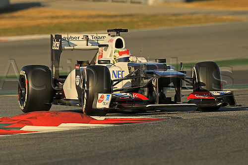 22.02.2012 Barcelona Spain. Formula One testing, day 2.Sergio Perez on track in his Sauber.