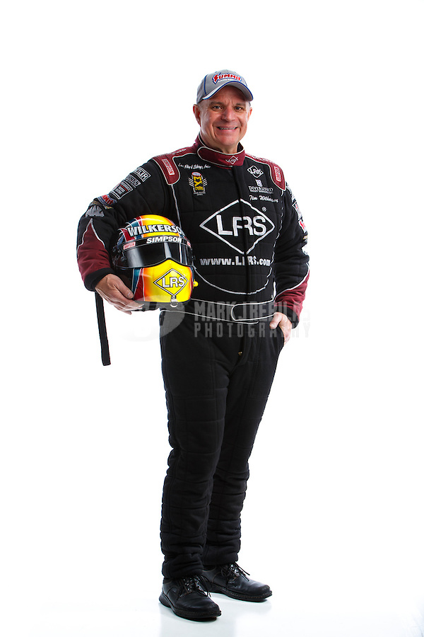 Feb 8, 2017; Pomona, CA, USA; NHRA funny car driver Tim Wilkerson poses for a portrait during media day at Auto Club Raceway at Pomona. Mandatory Credit: Mark J. Rebilas-USA TODAY Sports