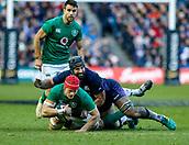 9th February 2019, Murrayfield Stadium, Edinburgh, Scotland; Guinness Six Nations Rugby Championship, Scotland versus Ireland; Josh van der Flier (Ireland) is stopped by Josh Strauss