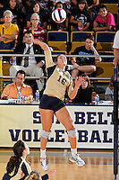 17 November 2011: FIU outside hitter Jovana Bjelica (16) hits a kill shot in the third set as the FIU Golden Panthers defeated the Denver University Pioneers, 3-1 (25-21, 23-25, 25-21, 25-18), in the first round of the Sun Belt Conference Tournament at U.S Century Bank Arena in Miami, Florida.