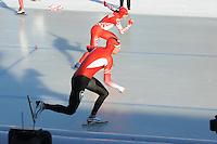 SCHAATSEN: BOEDAPEST: Essent ISU European Championships, 07-01-2012, 500m Men, Bram Smallenbroek AUT, Denis Yuskov RUS, ©foto Martin de Jong