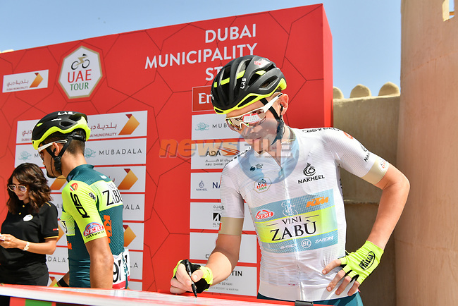 White Jersey holder Veljko Stojnic at sign on before Stage 2 the Dubai Municipality Stage of the UAE Tour 2020 running 168km from Hatta to Hatta Dam, Dubai. 24th February 2020.<br /> Picture: LaPresse/Massimo Paolone | Cyclefile<br /> <br /> All photos usage must carry mandatory copyright credit (© Cyclefile | LaPresse/Massimo Paolone)