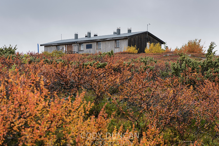 STF Aigert hut in autumn landscape, Kungsleden trail, Lapland, Sweden