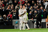 Real Madrid's Sergio Ramos (L) and Lucas Vazquez (R) celebrate goal during La Liga match between Real Madrid and Valencia CF at Santiago Bernabeu Stadium in Madrid, Spain. December 01, 2018. (ALTERPHOTOS/A. Perez Meca) /NortePhoto NORTEPHOTOMEXICO