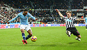 29th January 2019, St James Park, Newcastle upon Tyne, England; EPL Premier League football, Newcastle United versus Manchester City; Raheem Sterling of Manchester City crosses as Matt Ritchie of Newcastle United tries to block him
