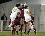 9 November 2007: Wake Forest's Caitlin Farrell (20) and Bess Harrington (22) leap into a group of Florida State players to challenge for a header. Florida State University defeated Wake Forest University 5-2  at the Disney Wide World of Sports complex in Orlando, FL in an Atlantic Coast Conference tournament semifinal match.
