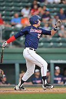 Left fielder Jordan Fucci (25) of the Samford Bulldogs hits a home run against Furman in a SoCon Tournament game on Saturday, May 28, 2016, at Fluor Field at the West End in Greenville, South Carolina. (Tom Priddy/Four Seam Images)