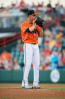Richmond Flying Squirrels starting pitcher Jordan Johnson (23) gets ready to deliver a pitch during a game against the Trenton Thunder on May 11, 2018 at The Diamond in Richmond, Virginia.  Richmond defeated Trenton 6-1.  (Mike Janes/Four Seam Images)