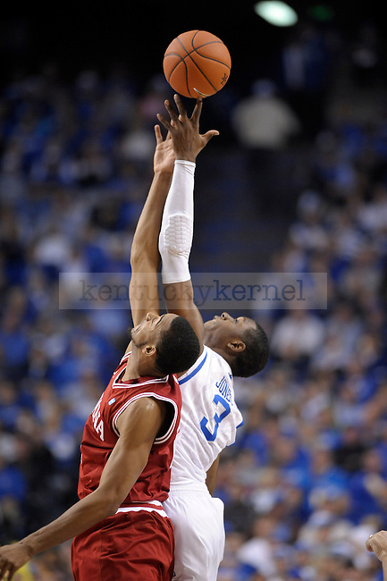 UK's Terrence Jones wins the jump ball during the first half of the University of Kentucky Men's basketball game against Indiana at Rupp Arena in Lexington, Ky., on 12/11/10. Uk led at half 32-31. Photo by Mike Weaver | Staff