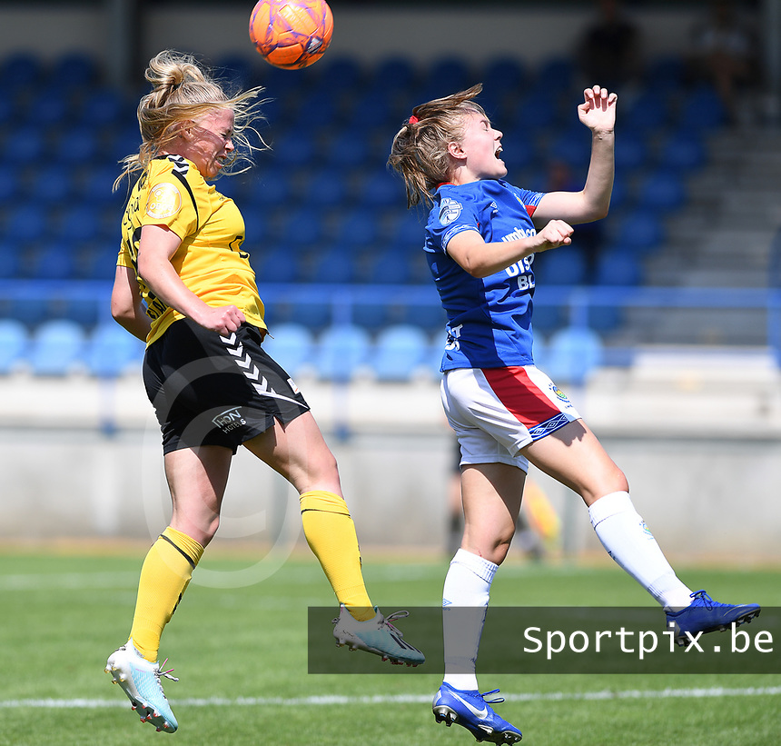 20190807 - DENDERLEEUW, BELGIUM : LSK's Therese Asland pictured in a duel with Linfield's Casey Howe (right) during the female soccer game between the Norwegian LSK Kvinner Fotballklubb Ladies and the Northern Irish Linfield ladies FC , the first game for both teams in the Uefa Womens Champions League Qualifying round in group 8 , Wednesday 7 th August 2019 at the Van Roy Stadium in Denderleeuw  , Belgium  .  PHOTO SPORTPIX.BE for NTB    DAVID CATRY
