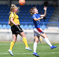 20190807 - DENDERLEEUW, BELGIUM : LSK's Therese Asland pictured in a duel with Linfield's Casey Howe (right) during the female soccer game between the Norwegian LSK Kvinner Fotballklubb Ladies and the Northern Irish Linfield ladies FC , the first game for both teams in the Uefa Womens Champions League Qualifying round in group 8 , Wednesday 7 th August 2019 at the Van Roy Stadium in Denderleeuw  , Belgium  .  PHOTO SPORTPIX.BE for NTB  | DAVID CATRY