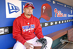 10/17/08 2:47:27 PM -- Philadelphia, PA, U.S.A. -- Philadelphia Phillies Shane Victorino poses for a photo in the Phillies dugout after practice October 17, 2008 at Citizen's Bank Park in Philadelphia, Pennsylvania. Victorino showed the team that cast him aside that it made a costly error. The Philadelphia outfielder, who spent six years in the L.A. Dodgers' farm system, used key hits in pressure situations, including a triple, Game 4 eighth-inning homer and six RBI during the NLCS, to help the Phillies beat the Dodgers and reach their first World Series since 1993. -- ...Photo by William Thomas Cain/cainimages.com.