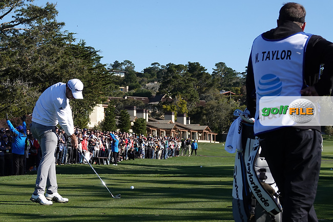 Nick Taylor (CAN) in action during the final round of the AT&T Pro-Am, Pebble Beach, Monterey, California, USA. 08/02/2020<br /> Picture: Golffile | Phil Inglis<br /> <br /> <br /> All photo usage must carry mandatory copyright credit (© Golffile | Phil Inglis)