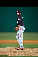Chattanooga Lookouts relief pitcher Todd Van Steensel (23) gets ready to deliver a pitch during a game against the Jackson Generals on April 27, 2017 at The Ballpark at Jackson in Jackson, Tennessee.  Chattanooga defeated Jackson 5-4.  (Mike Janes/Four Seam Images)