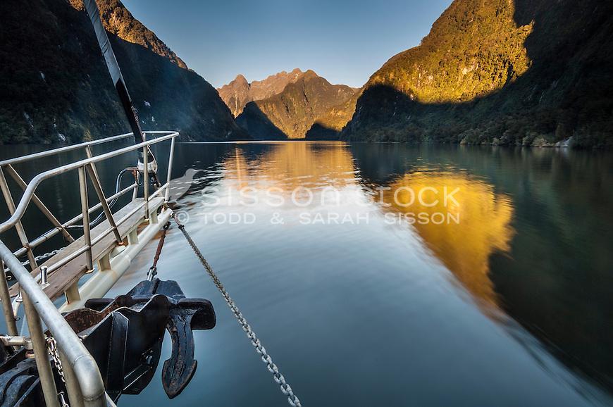 The Fiordland Navigator, cruises through the fiords at Doubtful Sound, Fiordland National Park, South Island, New Zealand - stock photo, canvas, fine art print